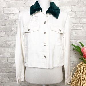 White 🆕Distressed Jean Jacket M